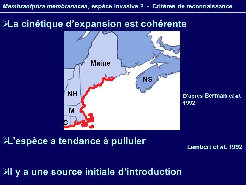 Maine NH M NS C La cinétique dexpansion est cohérente Membranipora membranacea, espèce invasive .