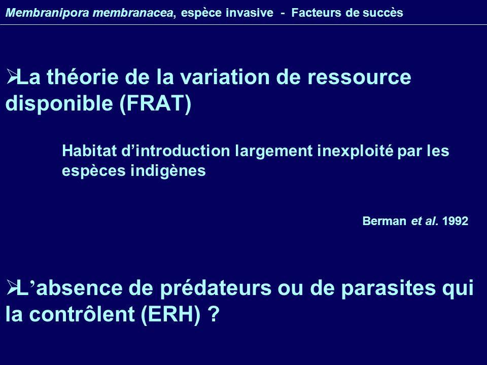 La théorie de la variation de ressource disponible (FRAT) Membranipora membranacea, espèce invasive - Facteurs de succès L absence de prédateurs ou de parasites qui la contrôlent (ERH) .