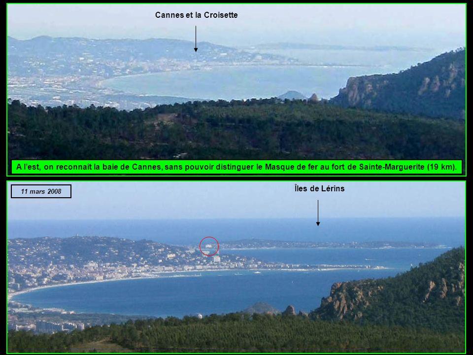Ainsi, on voit bien un peu de neige au nord de Fayence, mais les hauts sommets du Mercantour sont absents : Cima Argentera (Italie, 3290 m), à 82 km M