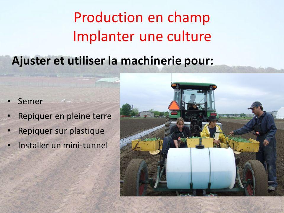 Production en champ Implanter une culture Semer Repiquer en pleine terre Repiquer sur plastique Installer un mini-tunnel Ajuster et utiliser la machin