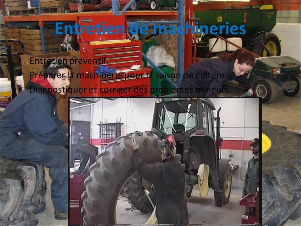 Entretien de machineries Entretien préventif. Préparer la machinerie pour la saison de culture. Diagnostiquer et corriger des problèmes mineurs.