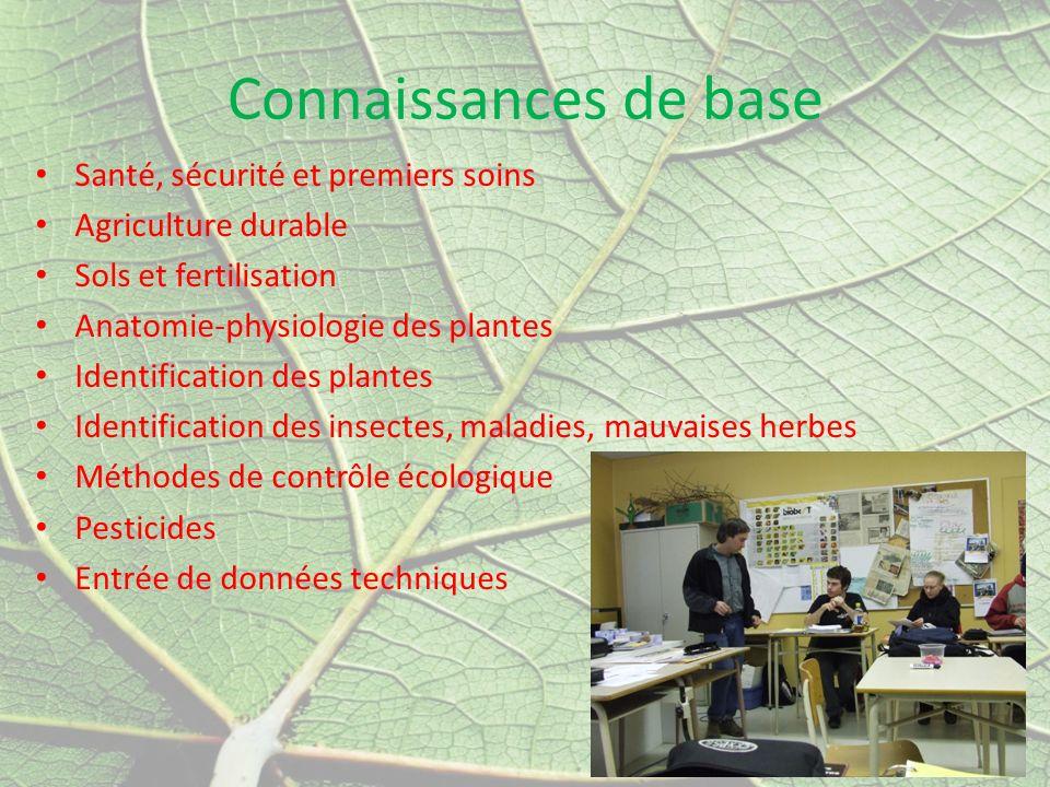 Connaissances de base Santé, sécurité et premiers soins Agriculture durable Sols et fertilisation Anatomie-physiologie des plantes Identification des