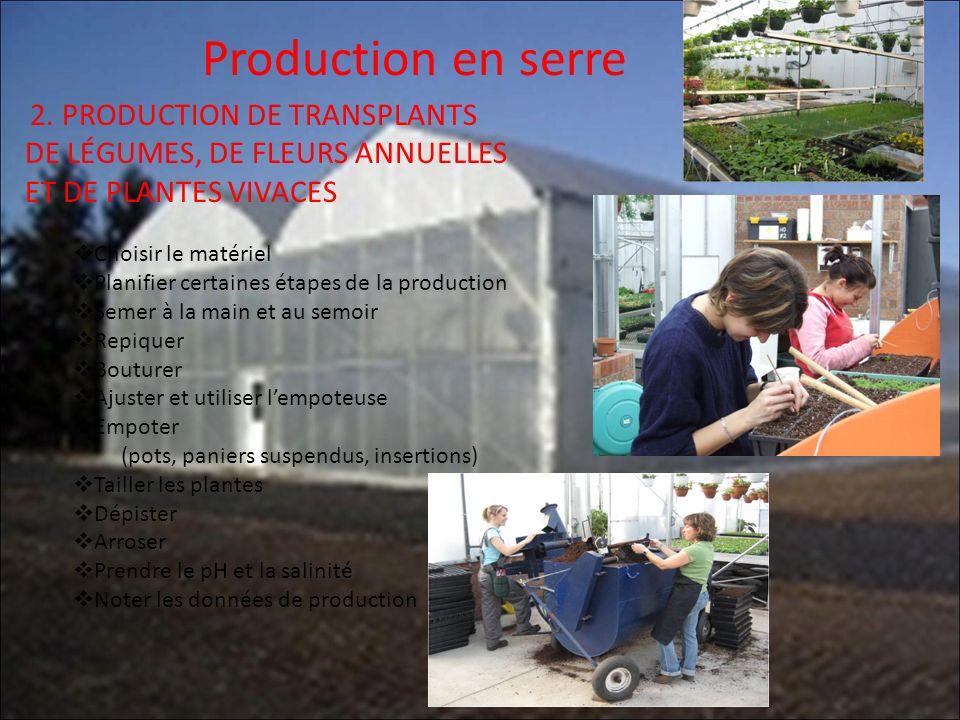 Production en serre 2. PRODUCTION DE TRANSPLANTS DE LÉGUMES, DE FLEURS ANNUELLES ET DE PLANTES VIVACES Choisir le matériel Planifier certaines étapes