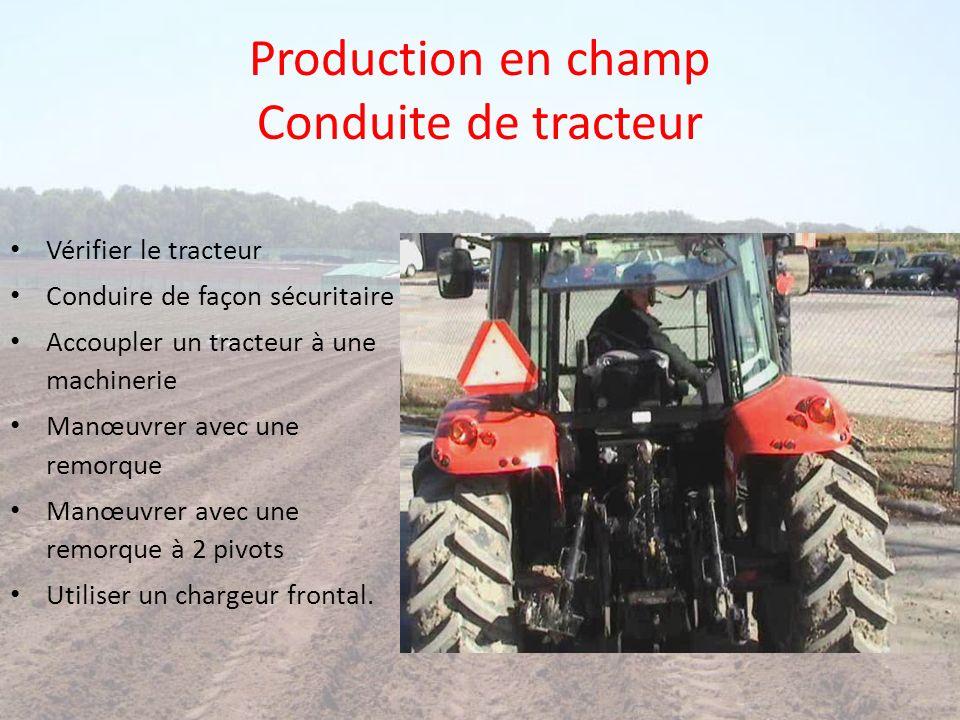 Production en champ Conduite de tracteur Vérifier le tracteur Conduire de façon sécuritaire Accoupler un tracteur à une machinerie Manœuvrer avec une