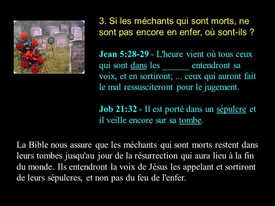 3. Si les méchants qui sont morts, ne sont pas encore en enfer, où sont-ils ? Jean 5:28-29 - L'heure vient où tous ceux qui sont dans les ______ enten