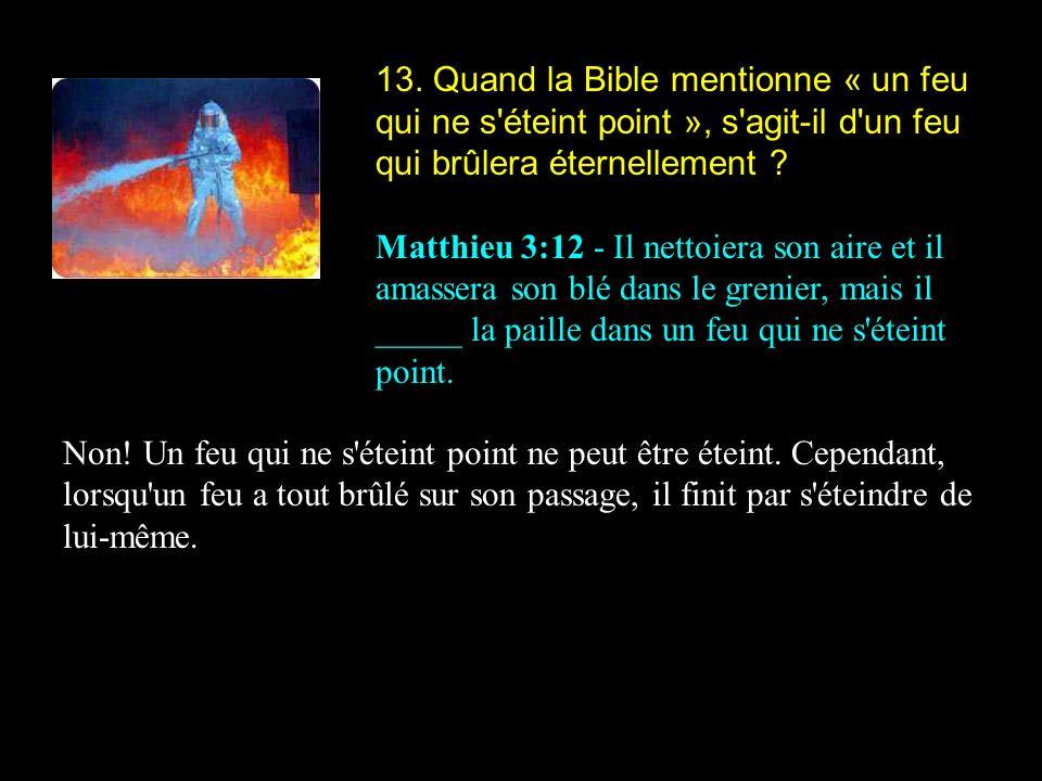 13. Quand la Bible mentionne « un feu qui ne s'éteint point », s'agit-il d'un feu qui brûlera éternellement ? Matthieu 3:12 - Il nettoiera son aire et