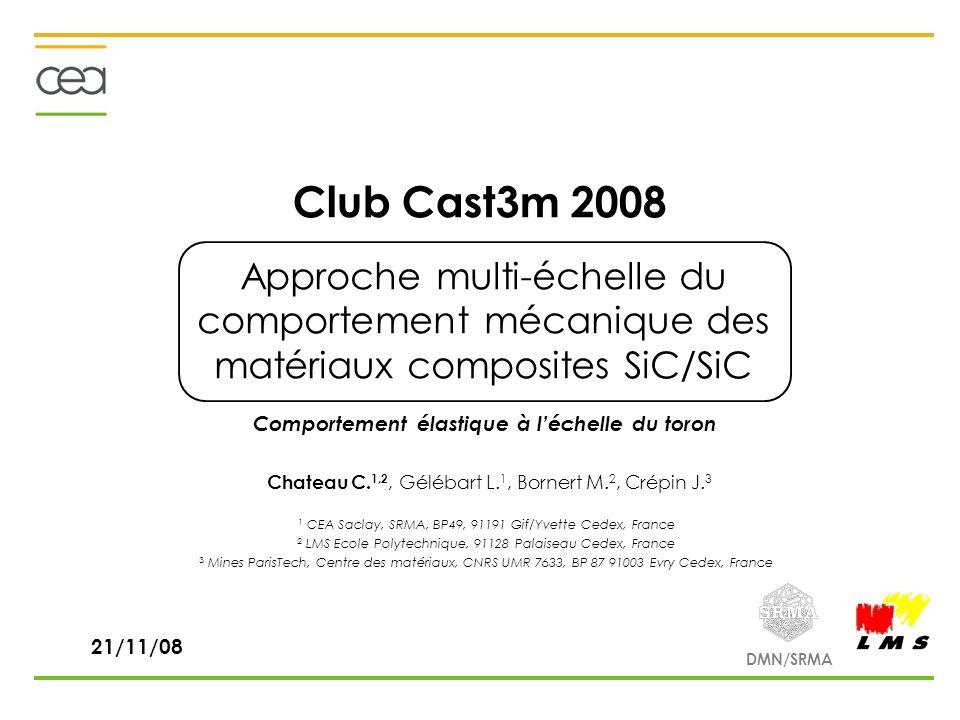 DMN/SRMA Club Cast3m 2008 Approche multi-échelle du comportement mécanique des matériaux composites SiC/SiC Chateau C. 1,2, Gélébart L. 1, Bornert M.