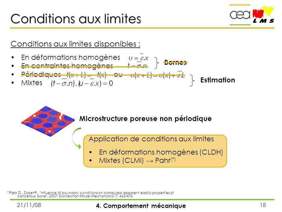 21/11/0818 Conditions aux limites disponibles : En déformations homogènes En contraintes homogènes Périodiques ou Mixtes Conditions aux limites 4. Com