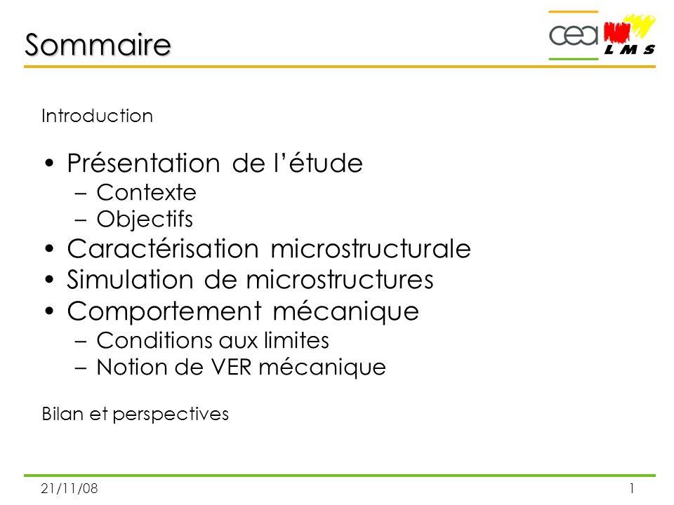 21/11/081 Sommaire Introduction Présentation de létude –Contexte –Objectifs Caractérisation microstructurale Simulation de microstructures Comportemen