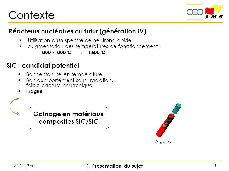 21/11/083 Contexte Utilisation dun spectre de neutrons rapide Augmentation des températures de fonctionnement : 800 -1000°C 1600°C 1. Présentation du