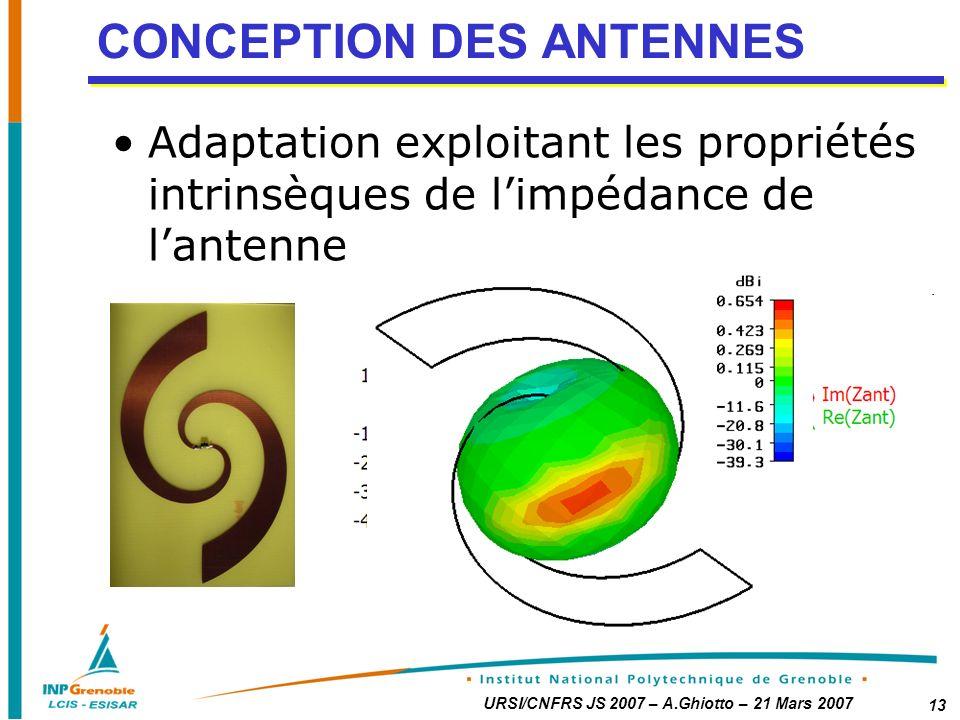 URSI/CNFRS JS 2007 – A.Ghiotto – 21 Mars 2007 13 CONCEPTION DES ANTENNES Adaptation exploitant les propriétés intrinsèques de limpédance de lantenne ZantZchip*