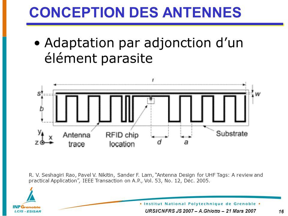 URSI/CNFRS JS 2007 – A.Ghiotto – 21 Mars 2007 16 CONCEPTION DES ANTENNES Adaptation par adjonction dun élément parasite R.