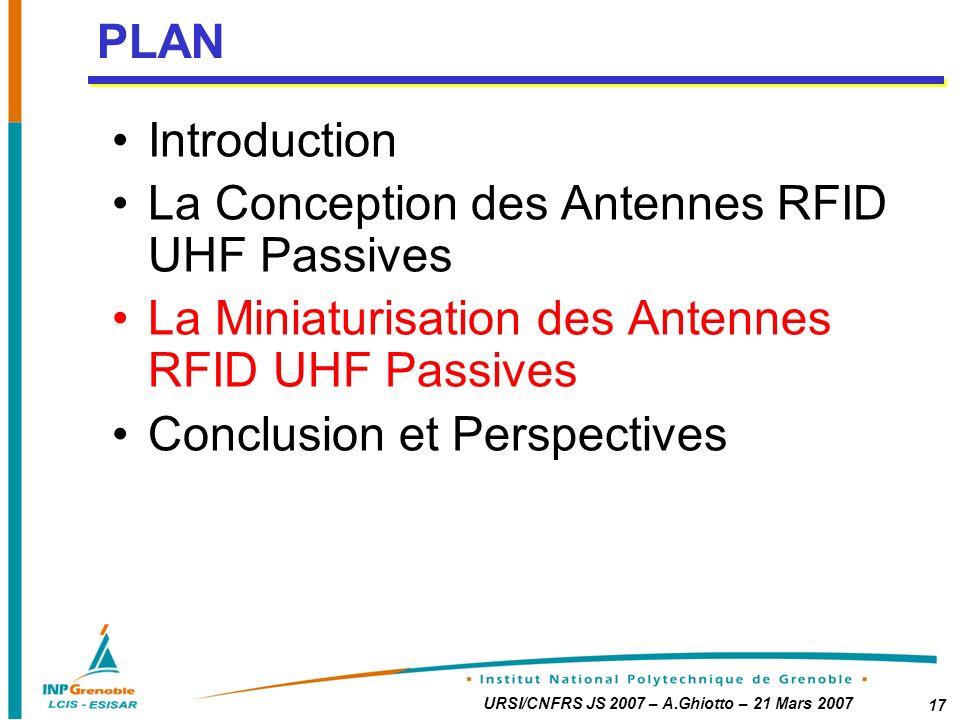 URSI/CNFRS JS 2007 – A.Ghiotto – 21 Mars 2007 17 Introduction La Conception des Antennes RFID UHF Passives La Miniaturisation des Antennes RFID UHF Passives Conclusion et Perspectives PLAN