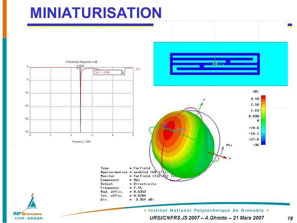 URSI/CNFRS JS 2007 – A.Ghiotto – 21 Mars 2007 19 MINIATURISATION