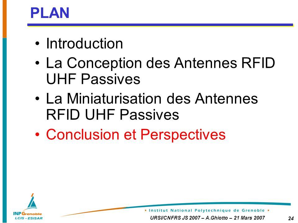 URSI/CNFRS JS 2007 – A.Ghiotto – 21 Mars 2007 24 Introduction La Conception des Antennes RFID UHF Passives La Miniaturisation des Antennes RFID UHF Passives Conclusion et Perspectives PLAN