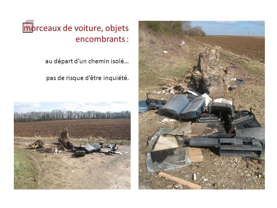morceaux de voiture, objets encombrants : au départ dun chemin isolé… pas de risque dêtre inquiété.