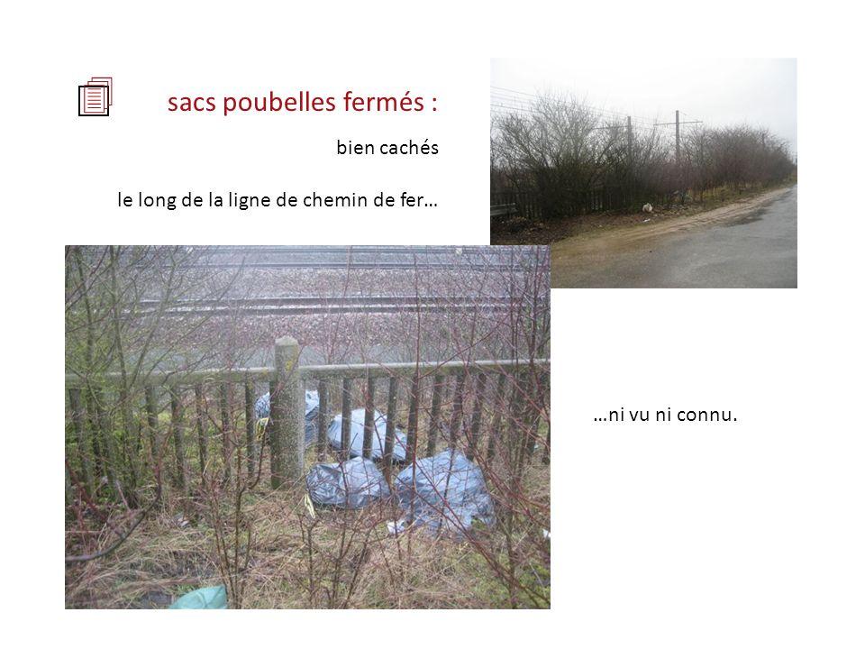 sacs poubelles fermés : …ni vu ni connu. bien cachés le long de la ligne de chemin de fer…