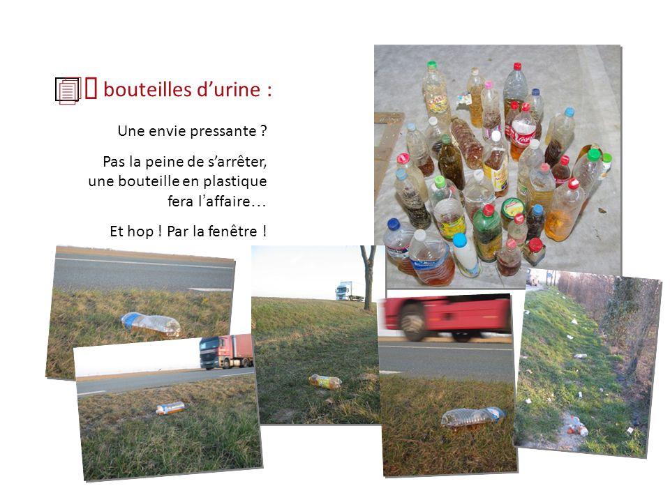 bouteilles durine : Une envie pressante ? Pas la peine de sarrêter, une bouteille en plastique fera l affaire … Et hop ! Par la fenêtre !