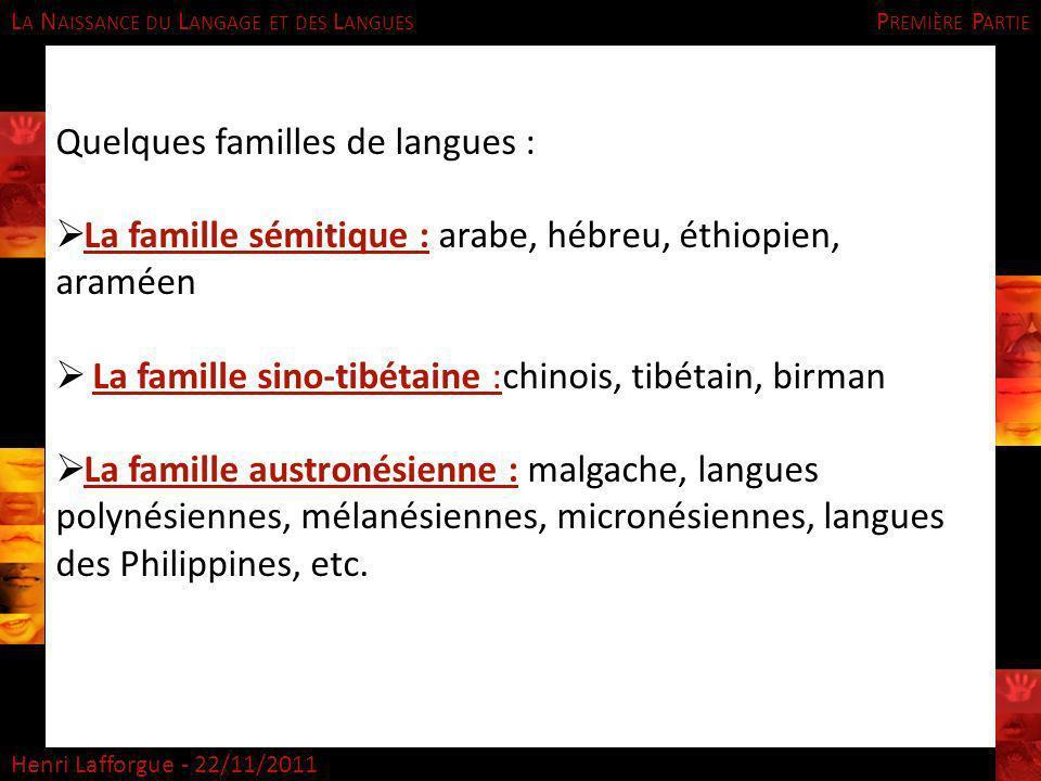 L A N AISSANCE DU L ANGAGE ET DES L ANGUES Henri Lafforgue - 22/11/2011 Quelques familles de langues : La famille sémitique : arabe, hébreu, éthiopien