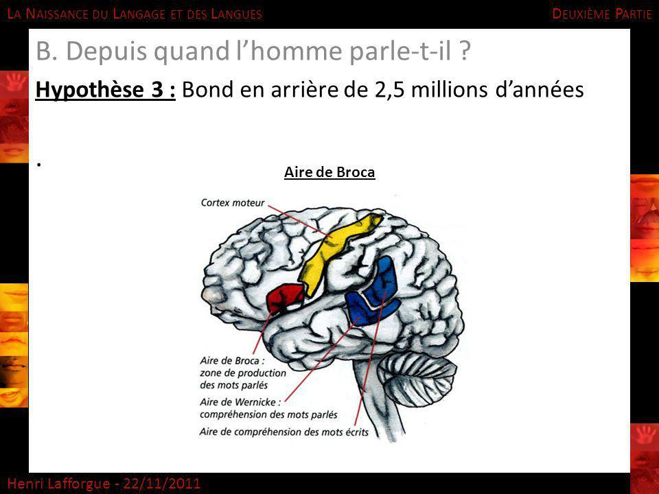 L A N AISSANCE DU L ANGAGE ET DES L ANGUES Henri Lafforgue - 22/11/2011 B. Depuis quand lhomme parle-t-il ? Hypothèse 3 : Bond en arrière de 2,5 milli