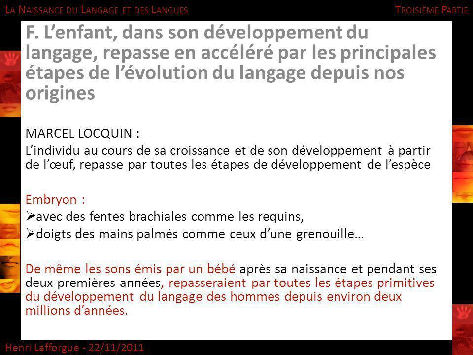 L A N AISSANCE DU L ANGAGE ET DES L ANGUES Henri Lafforgue - 22/11/2011 T ROISIÈME P ARTIE F. Lenfant, dans son développement du langage, repasse en a
