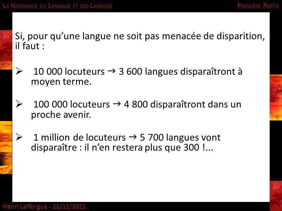L A N AISSANCE DU L ANGAGE ET DES L ANGUES Henri Lafforgue - 22/11/2011 Si, pour quune langue ne soit pas menacée de disparition, il faut : 10 000 loc
