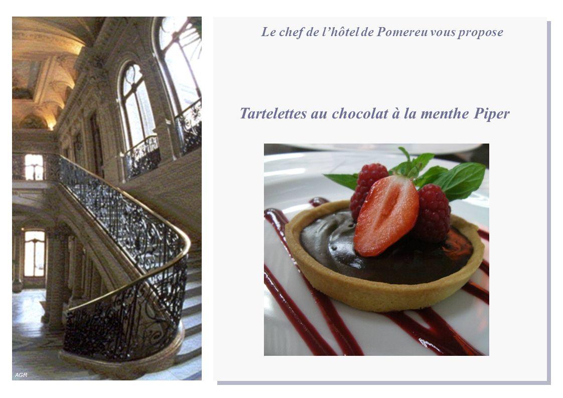 Le chef de lhôtel de Pomereu vous propose Tartelettes au chocolat à la menthe Piper AGR
