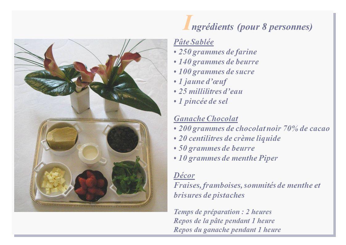 Pâte Sablée 250 grammes de farine 140 grammes de beurre 100 grammes de sucre 1 jaune dœuf 25 millilitres deau 1 pincée de sel Ganache Chocolat 200 gra