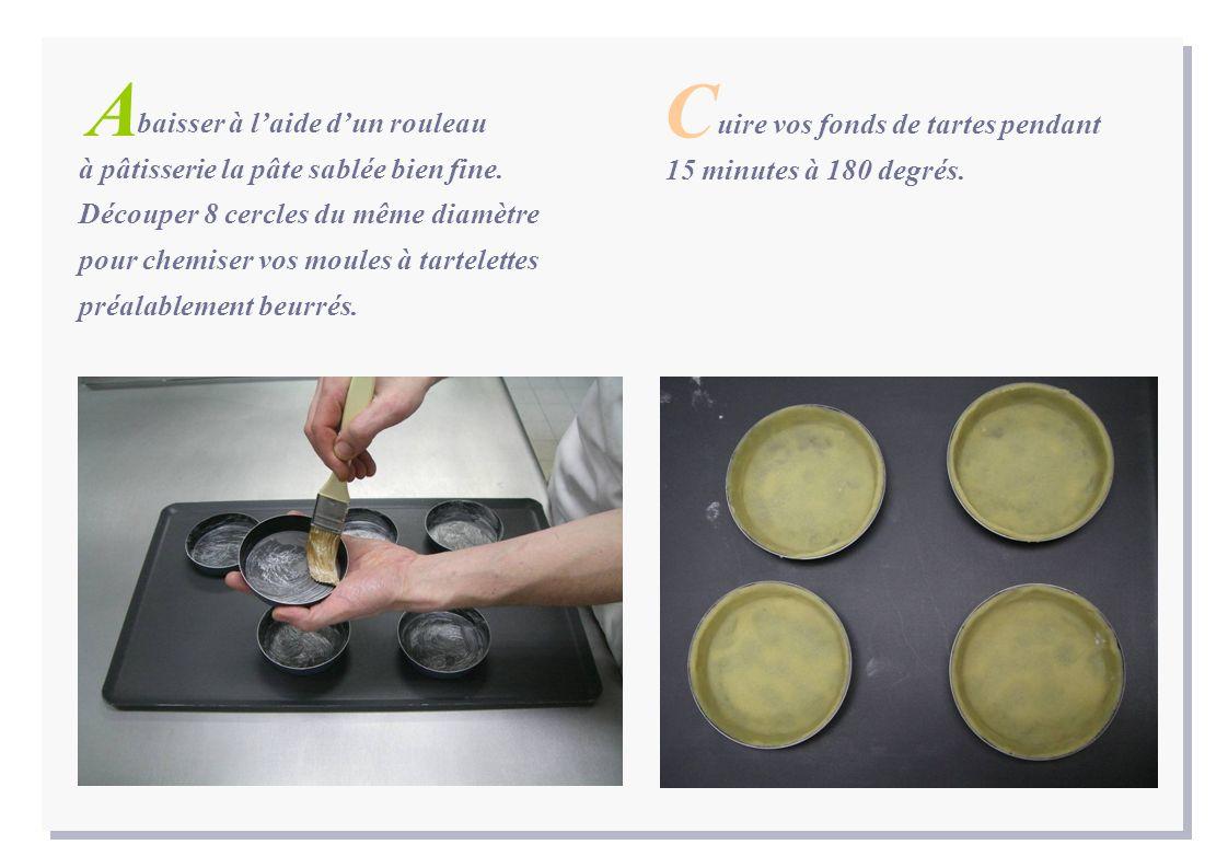 baisser à laide dun rouleau à pâtisserie la pâte sablée bien fine. Découper 8 cercles du même diamètre pour chemiser vos moules à tartelettes préalabl