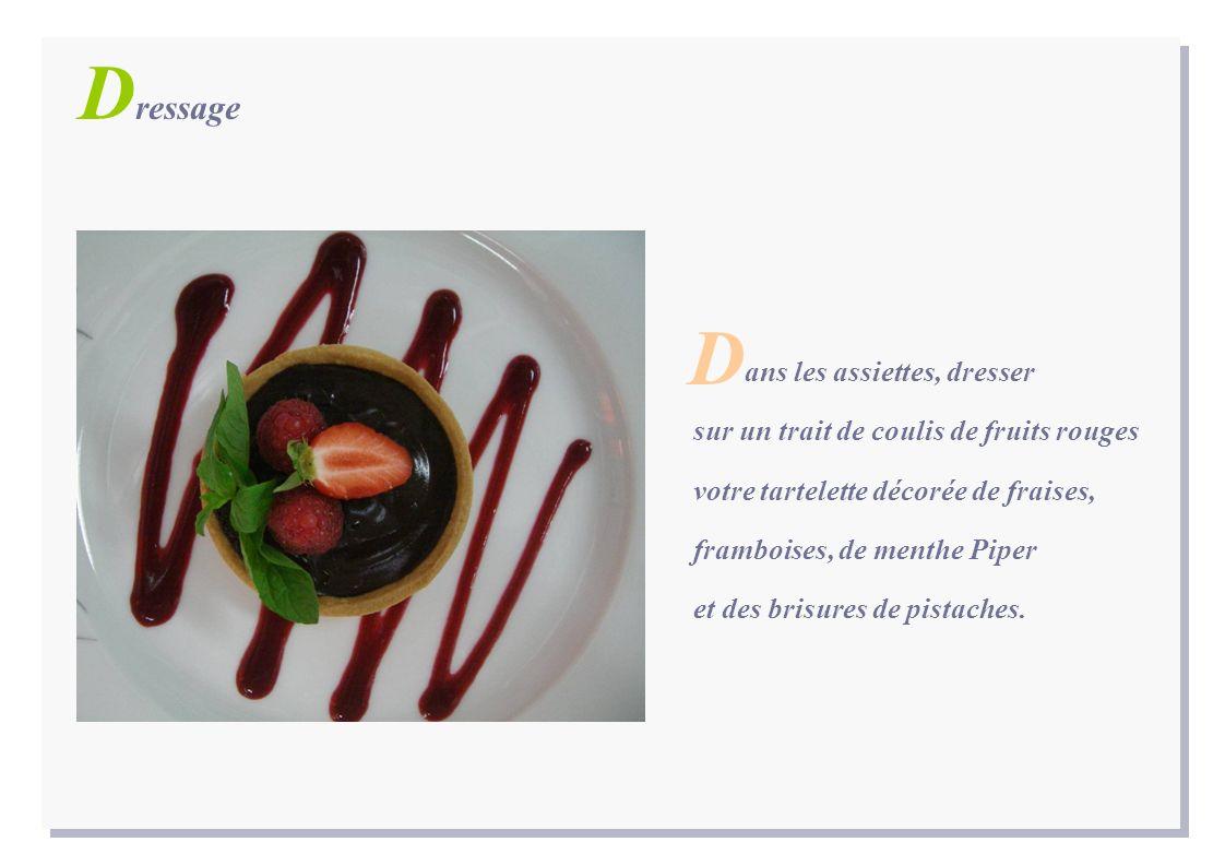 D ressage ans les assiettes, dresser sur un trait de coulis de fruits rouges votre tartelette décorée de fraises, framboises, de menthe Piper et des b