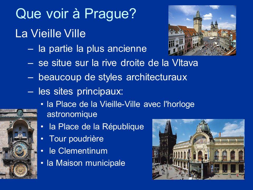 Que voir à Prague? La Vieille Ville – la partie la plus ancienne – se situe sur la rive droite de la Vltava – beaucoup de styles architecturaux – les