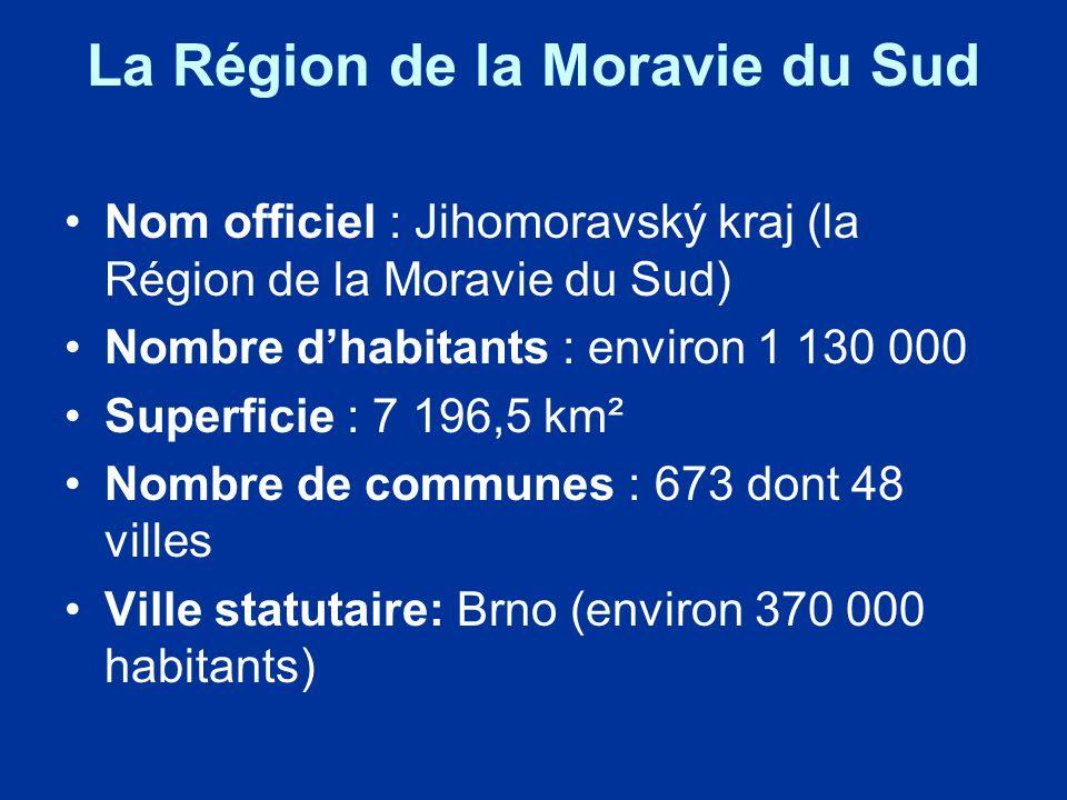 La Région de la Moravie du Sud Nom officiel : Jihomoravský kraj (la Région de la Moravie du Sud) Nombre dhabitants : environ 1 130 000 Superficie : 7 196,5 km² Nombre de communes : 673 dont 48 villes Ville statutaire: Brno (environ 370 000 habitants)