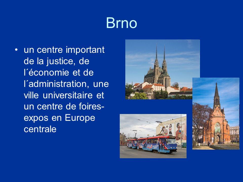 Brno un centre important de la justice, de l´économie et de l´administration, une ville universitaire et un centre de foires- expos en Europe centrale