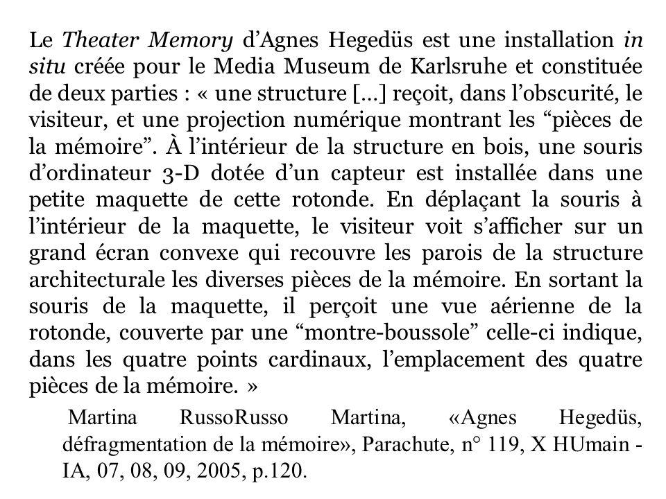 Le Theater Memory dAgnes Hegedüs est une installation in situ créée pour le Media Museum de Karlsruhe et constituée de deux parties : « une structure […] reçoit, dans lobscurité, le visiteur, et une projection numérique montrant les pièces de la mémoire.