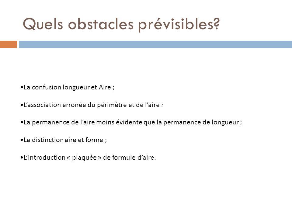 Quels obstacles prévisibles? La confusion longueur et Aire ; Lassociation erronée du périmètre et de laire : La permanence de laire moins évidente que