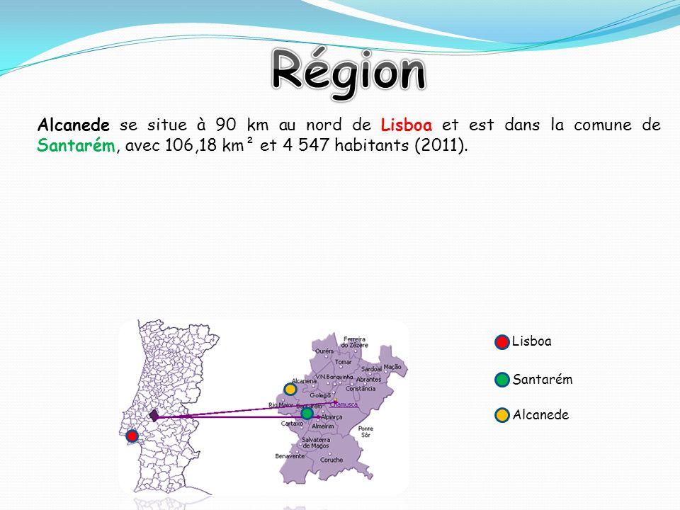 Alcanede se situe à 90 km au nord de Lisboa et est dans la comune de Santarém, avec 106,18 km² et 4 547 habitants (2011). Lisboa Santarém Alcanede