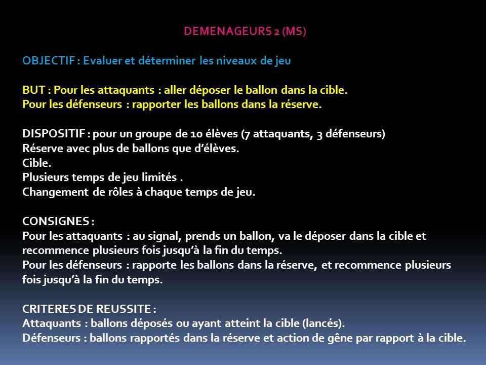 DEMENAGEURS 2 (MS) OBJECTIF : Evaluer et déterminer les niveaux de jeu BUT : Pour les attaquants : aller déposer le ballon dans la cible.