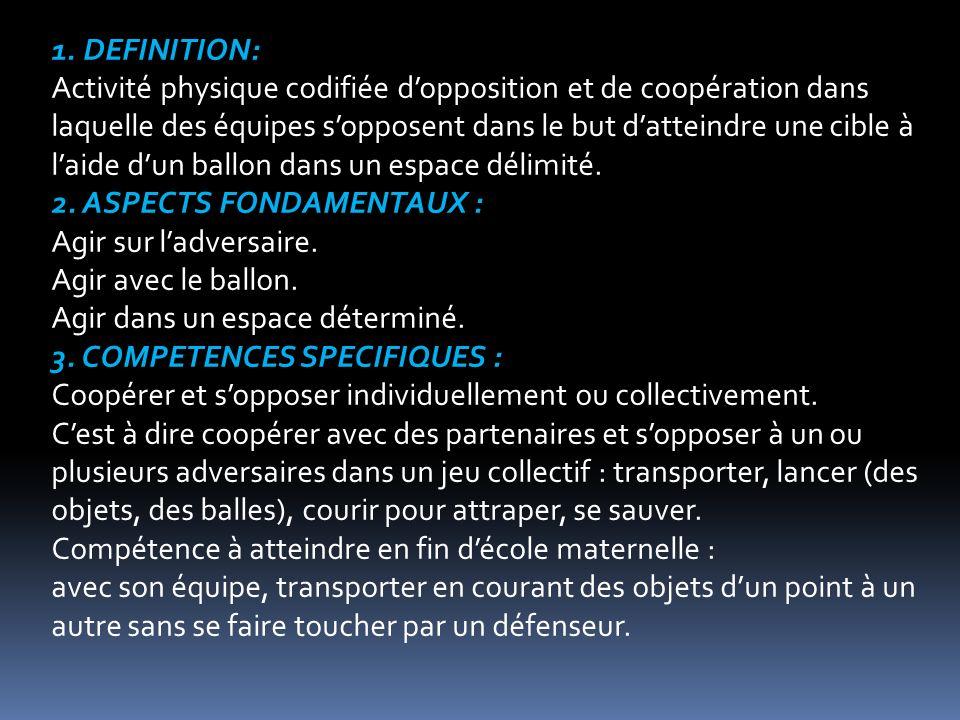 1. DEFINITION: Activité physique codifiée dopposition et de coopération dans laquelle des équipes sopposent dans le but datteindre une cible à laide d