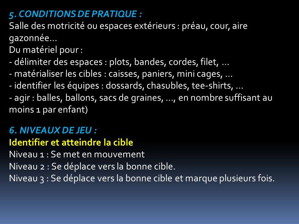 5. CONDITIONS DE PRATIQUE : Salle des motricité ou espaces extérieurs : préau, cour, aire gazonnée… Du matériel pour : - délimiter des espaces : plots