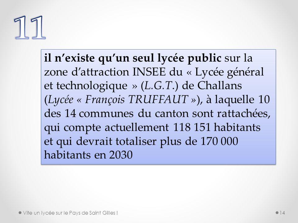 il nexiste quun seul lycée public sur la zone dattraction INSEE du « Lycée général et technologique » (L.G.T.) de Challans (Lycée « François TRUFFAUT