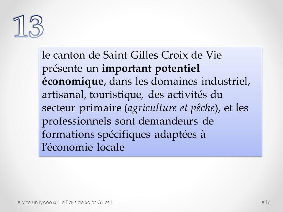 le canton de Saint Gilles Croix de Vie présente un important potentiel économique, dans les domaines industriel, artisanal, touristique, des activités