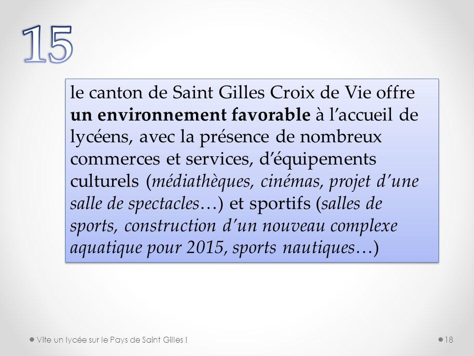 le canton de Saint Gilles Croix de Vie offre un environnement favorable à laccueil de lycéens, avec la présence de nombreux commerces et services, déq
