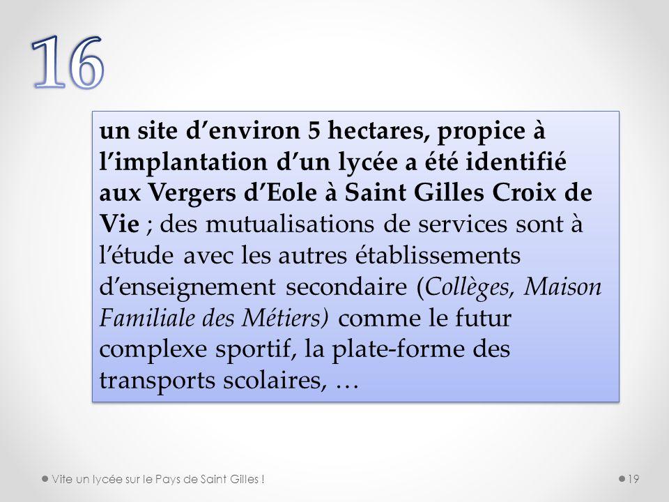 un site denviron 5 hectares, propice à limplantation dun lycée a été identifié aux Vergers dEole à Saint Gilles Croix de Vie ; des mutualisations de s
