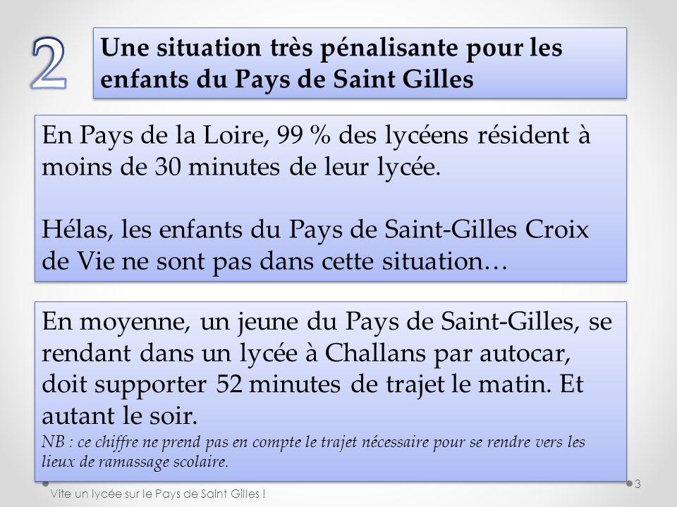 Une situation très pénalisante pour les enfants du Pays de Saint Gilles En Pays de la Loire, 99 % des lycéens résident à moins de 30 minutes de leur l