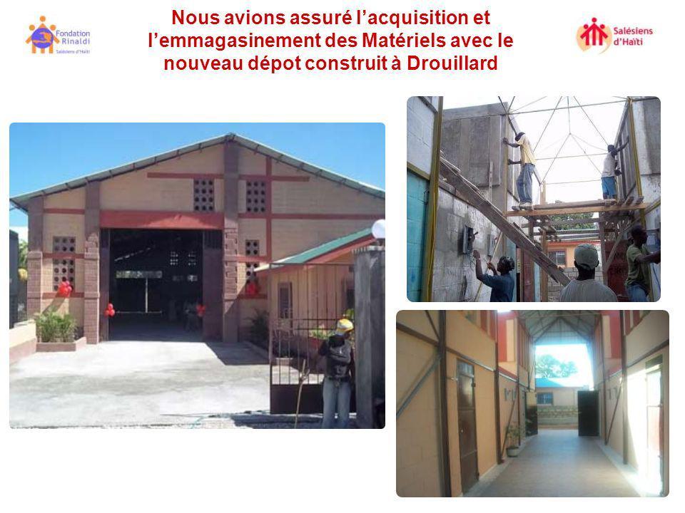 Nous avions assuré lacquisition et lemmagasinement des Matériels avec le nouveau dépot construit à Drouillard