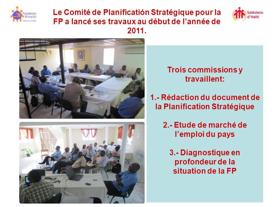 Le Comité de Planificatión Stratégique pour la FP a lancé ses travaux au début de lannée de 2011. Trois commissions y travaillent: 1.- Rédaction du do