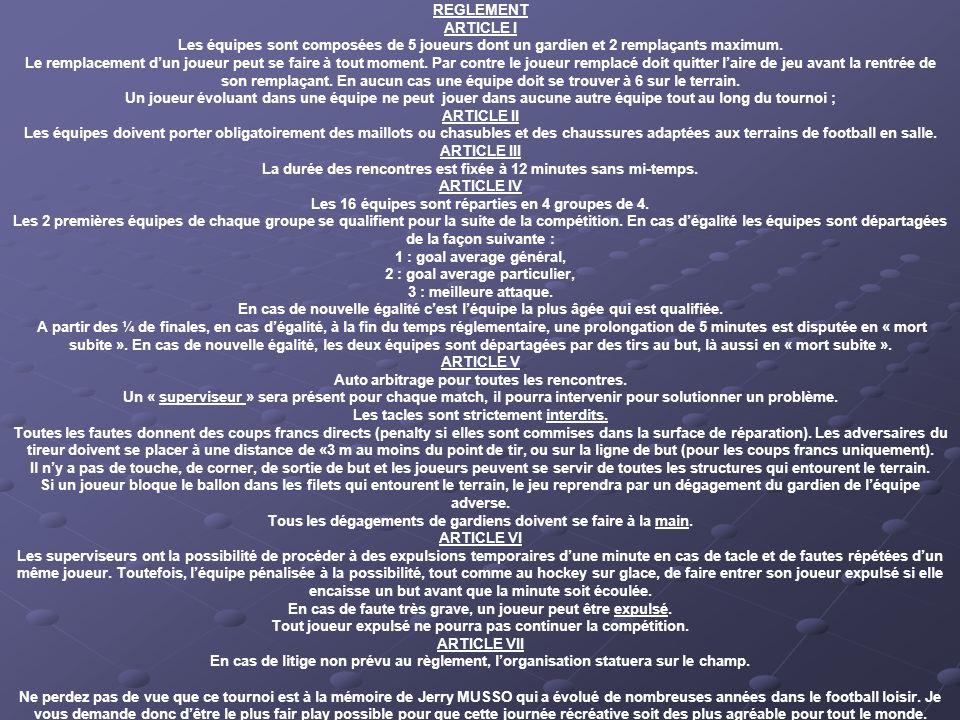 REGLEMENT ARTICLE I Les équipes sont composées de 5 joueurs dont un gardien et 2 remplaçants maximum.