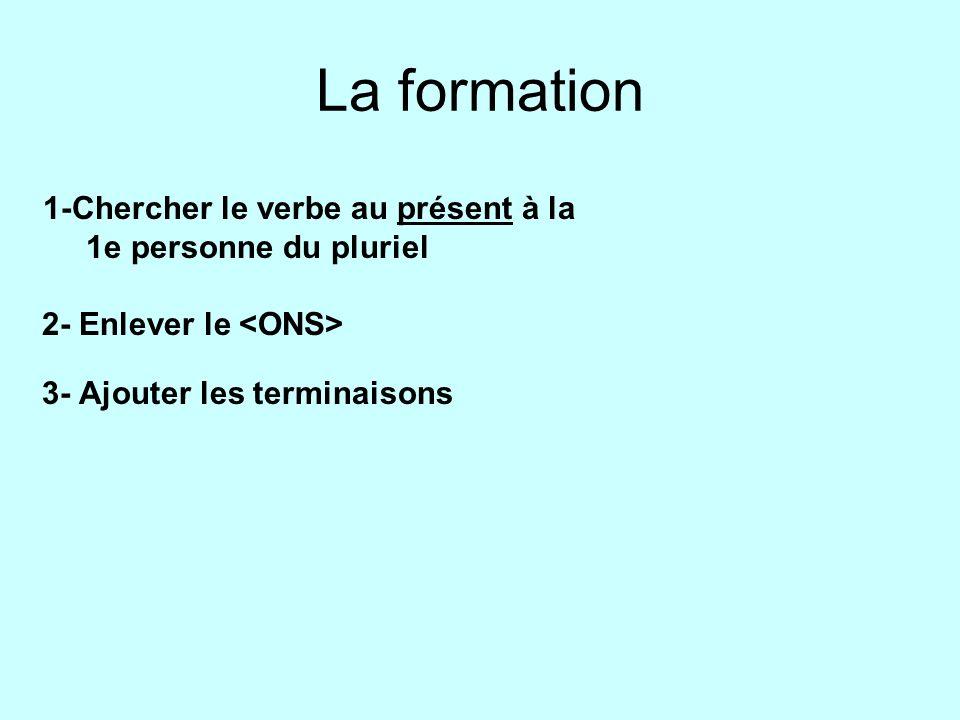 La formation 1-Chercher le verbe au présent à la 1e personne du pluriel 2- Enlever le 3- Ajouter les terminaisons