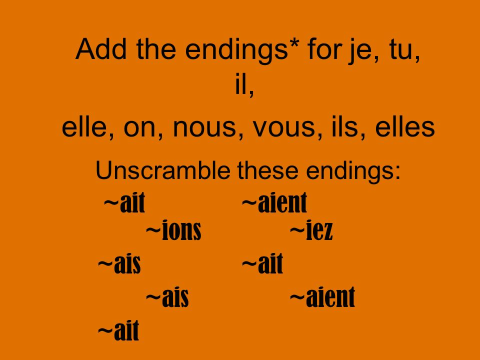 Unscramble these endings: ~ait ~aient ~ions~iez ~ais ~ait ~ais ~aient ~ait Add the endings* for je, tu, il, elle, on, nous, vous, ils, elles