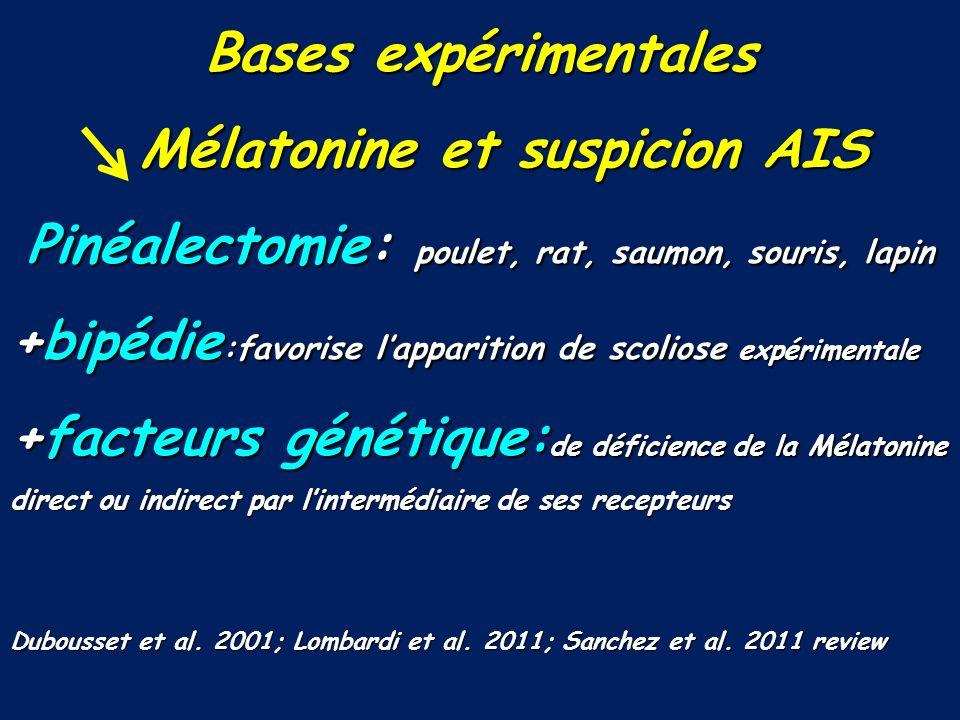Bases expérimentales Mélatonine et suspicion AIS Mélatonine et suspicion AIS Pinéalectomie: poulet, rat, saumon, souris, lapin +bipédie :favorise lapp